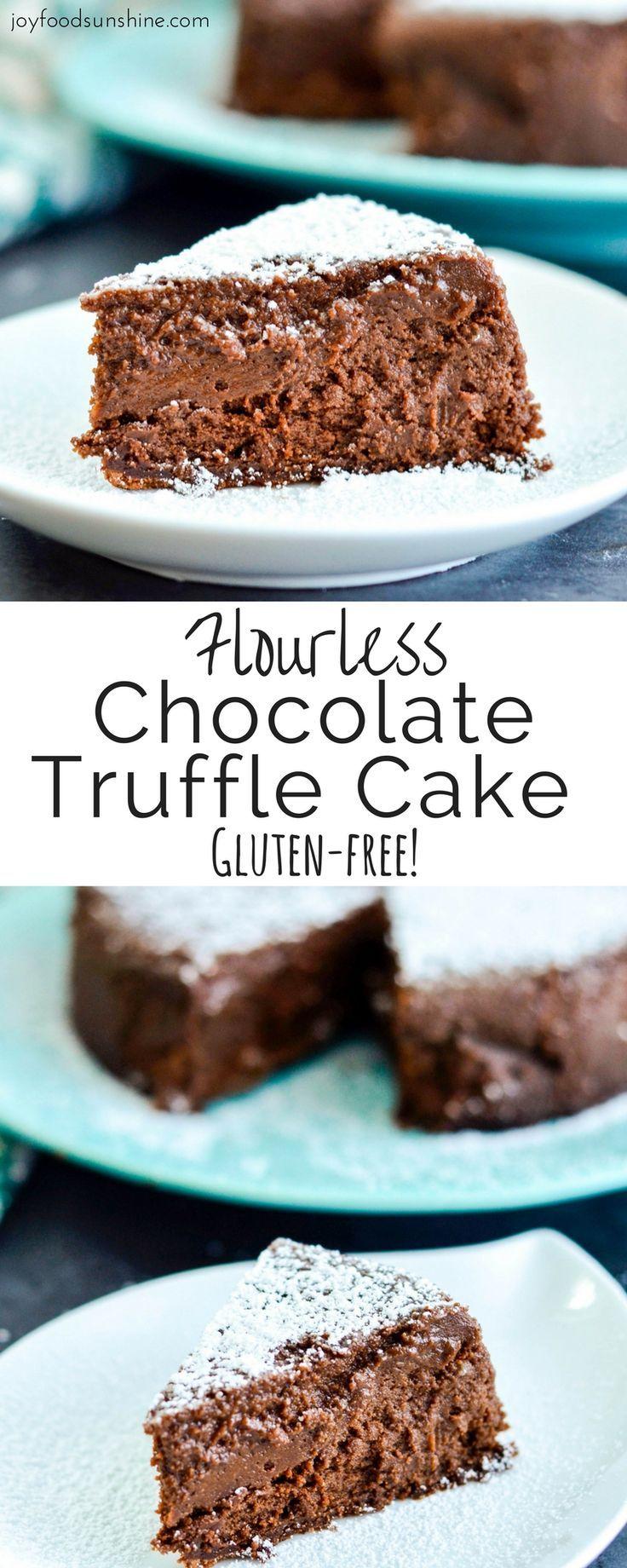 Chocoladetaart recept: glutenvrije chocolade truffel cake - zonder bloem! Onweerstaanbaar lekker, voor mensen die wel óf niet glutenvrij leven. // via Joy Food Sunshine