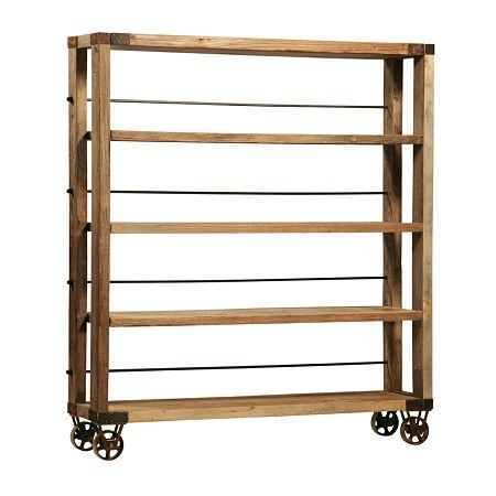 Reclaimed Wood Bookcase On Wheels   Super Versatile Bookcase Can Double As  A Mobile Room Divider
