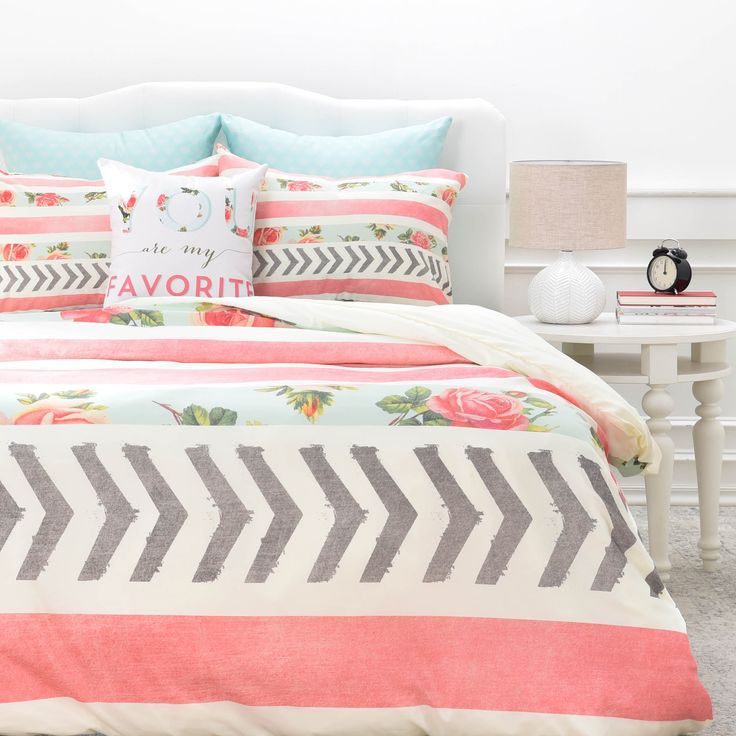 Allyson Johnson Floral Stripes and Arrows Queen Size Duvet Cover