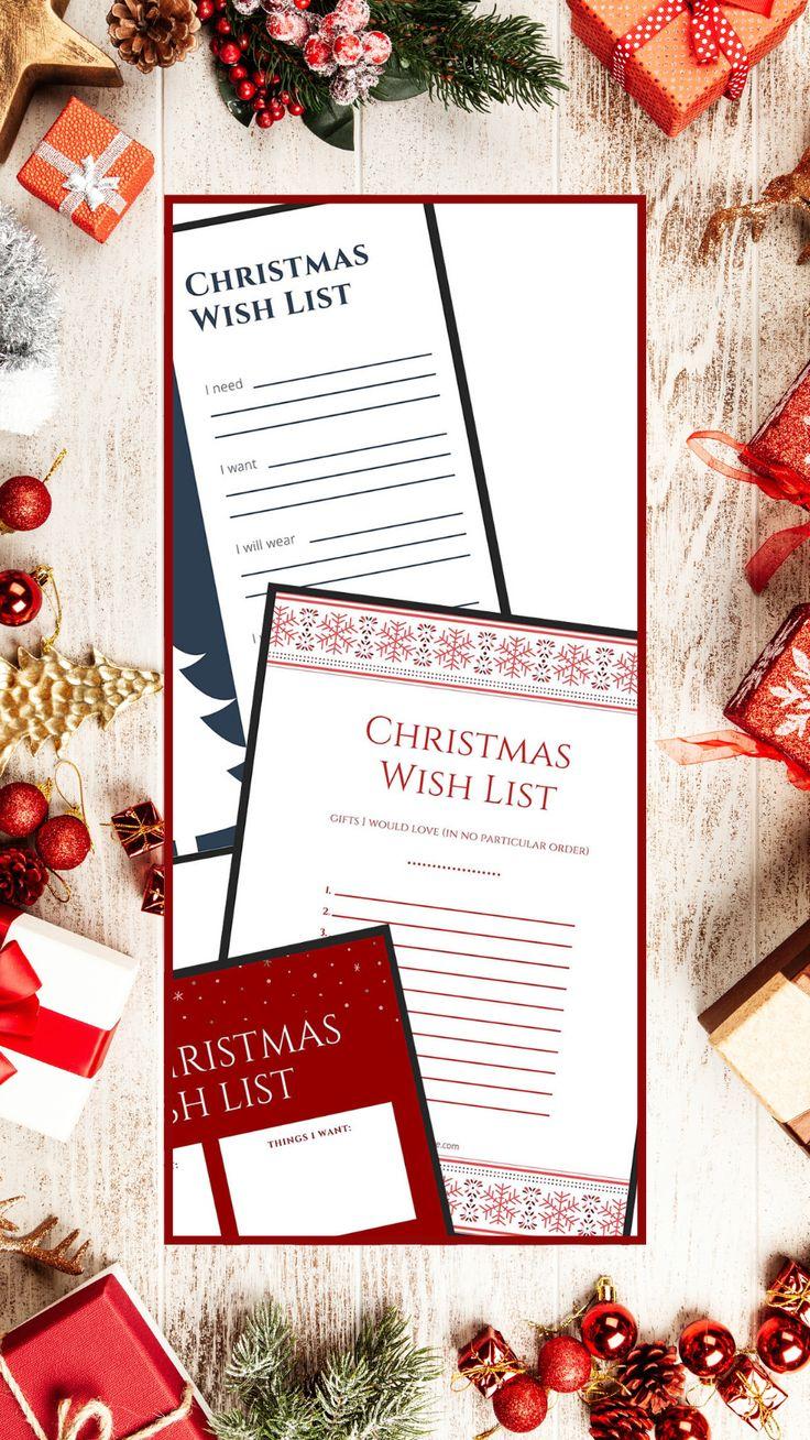 Christmas Wish Lists FREE Download Printable Three