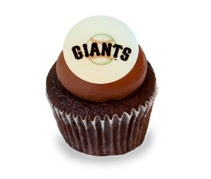 Sweet Chocolate Giants Cupcake. A chocolate cupcake with a sugary sweet chocolate frosting decorated with an edible Giants logo. #karascupcakes #sfgiants