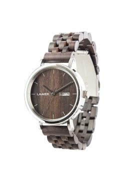 """Wooden watch RÀUL: The combination of dark sandalwood and the case made out of stainless steel, makes """"Rául"""" appear to be a real eye-catcher. Thanks to the display of the day as well as the date, this wrist watch is practical as well."""