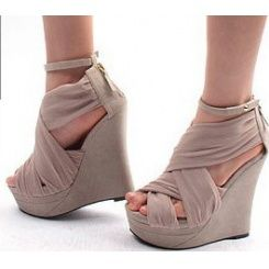 wholesale GIVENCHY style silk wedge sandals CZ-0763 nude