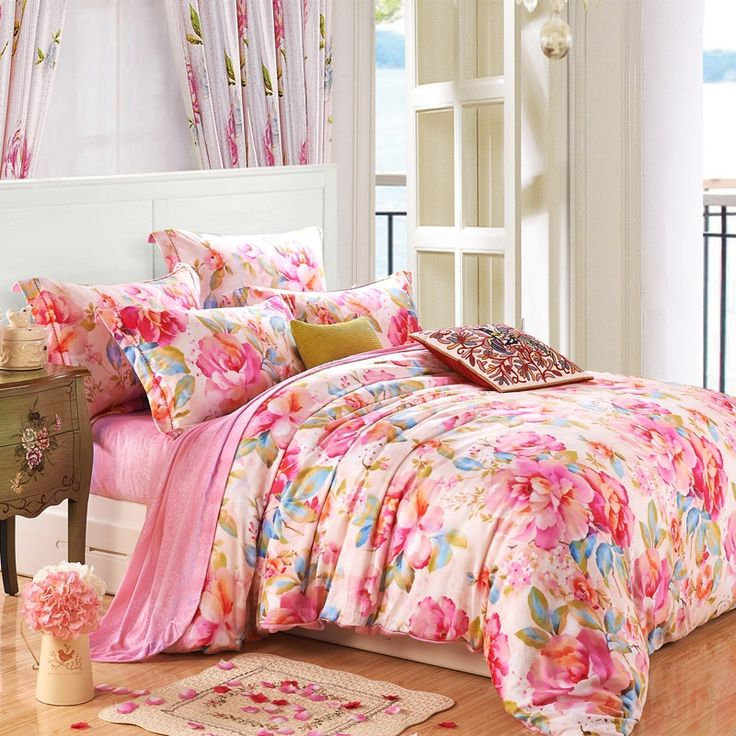Pink Dream Flower Garden Modern Chic Cute Princess Themed Oriental Country Style Girls 100% Tencel Full, Queen Size Bedding Duvet Cover Sets