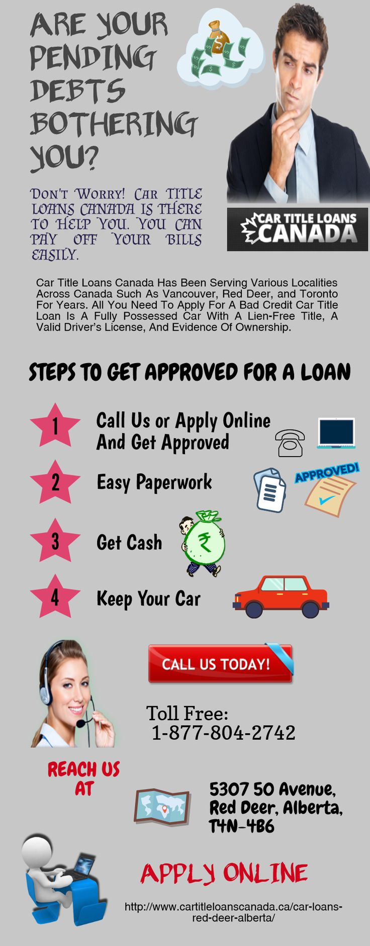 If you want to get quick and easy loan in red deer apply for a car title loan all you need to have is a valid canadian s driver s license and a fully