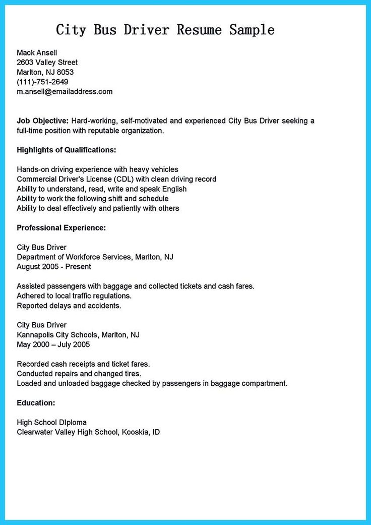 Cdl class b resume examples scheduled driver job