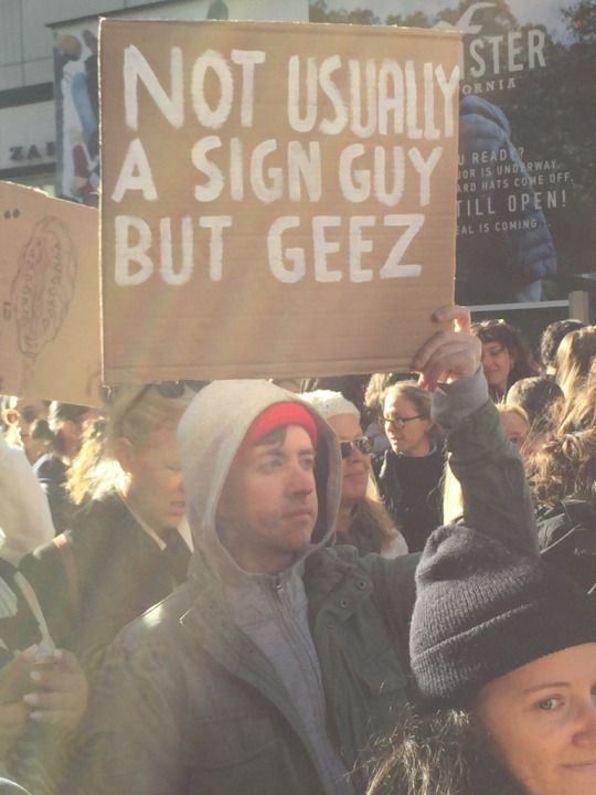 My favorite protest sign so far regarding the election in 2016.