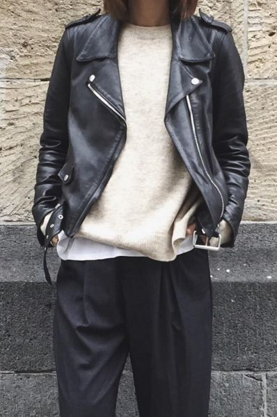 Black leather jacket cream jumper cream top black pants... - Street Style