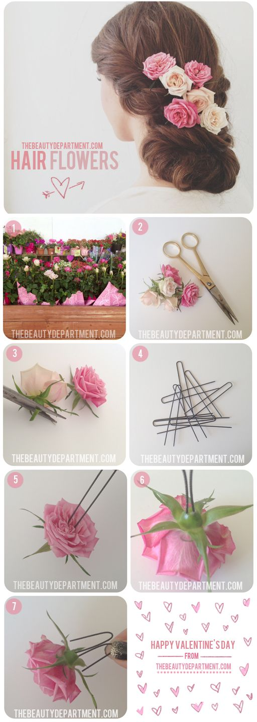 How to secure fresh flowers in your hair with u-shaped hair pins. You could match your bouquet!