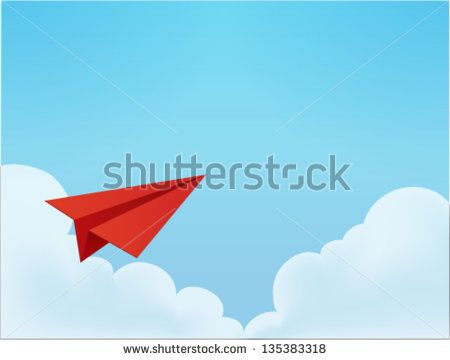 Paper Plane in The Sky  Vector File EPS10 - stock vector
