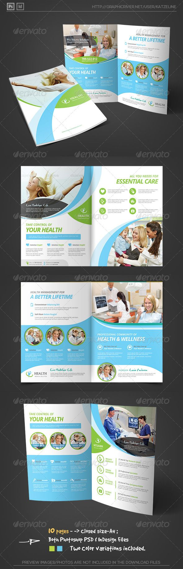 Health Medical Care - Bifold Brochure Template - Corporate Brochures