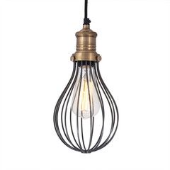 Orlando Vintage Balloon Cage Pendant Light - Dark Pewter - Brass Holder