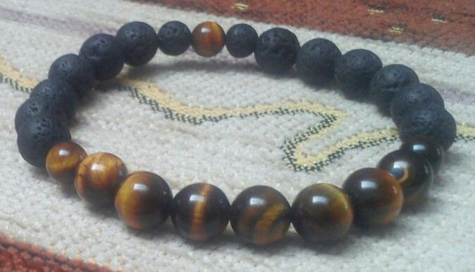 Volcanic lava, Tiger's Eye gemstone - 8 mm