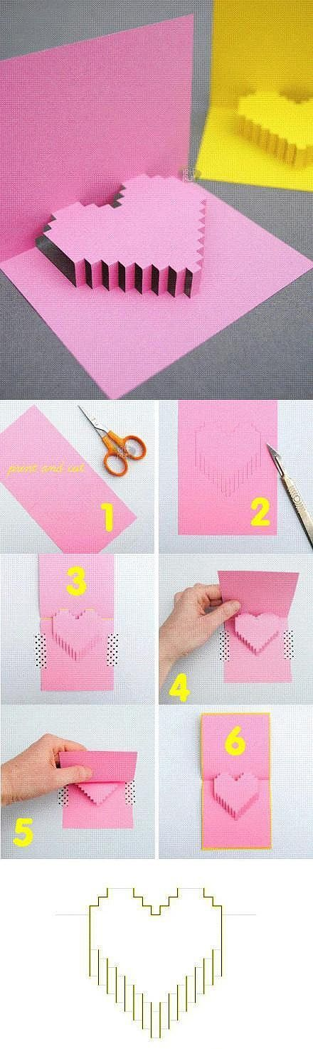 How to make an pop-up 8-bit heart card! Cut the solid lines, do not cut the…