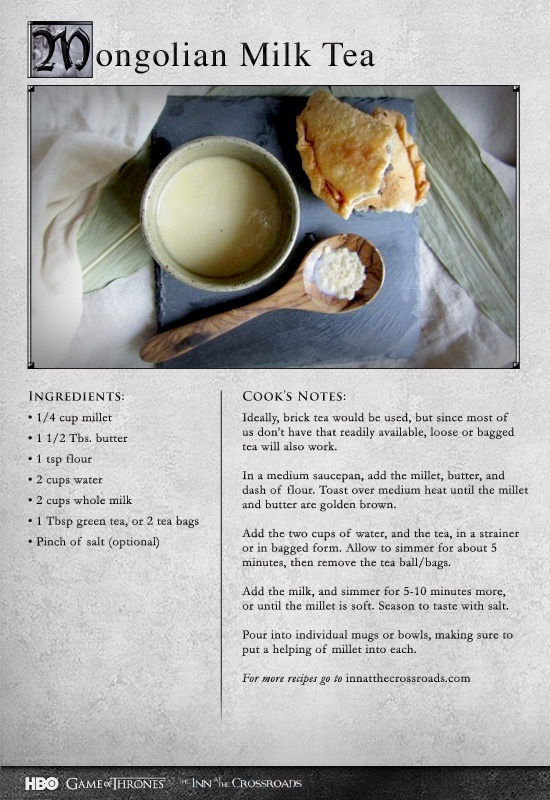 28 best game of thrones recipes images on pinterest medieval game of thrones mongolian milk tea recipe forumfinder Image collections