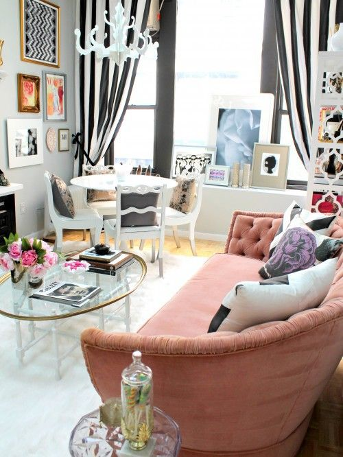 Love the black and white stripe curtain with the pink couch!-This is for if I get too scared to stripe my walls. I'll just do curtains. Wimpy version.