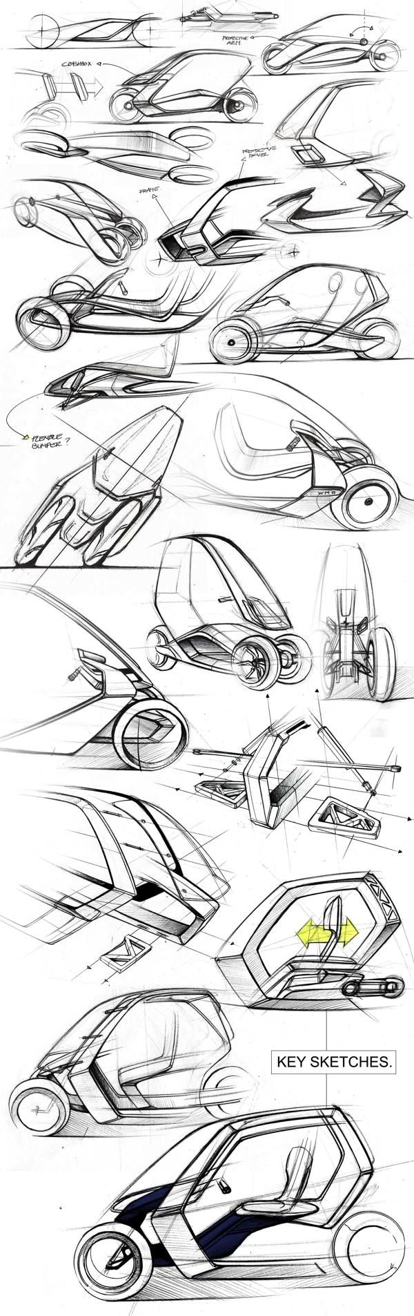 Sketching: transport, concept car, fast sketches, BMW C1+ by Jean-Thomas MAYER, via Behance
