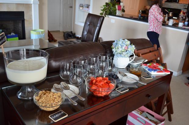 Yogurt parfait Bar- Fun idea for brunch baby or bridal shower or even when hosting a sleepover.