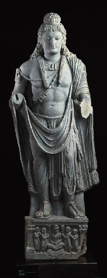 彌勒菩薩, 第2,第3個世紀  巴基斯坦:古代犍陀羅,100-299  片岩 ,69×28×10英寸(175.3點¯x71.1點¯x25.4厘米) 的諾頓西蒙基金會