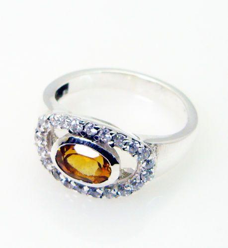 citrine gems stones 925 silver sovereign ring jewellery sz