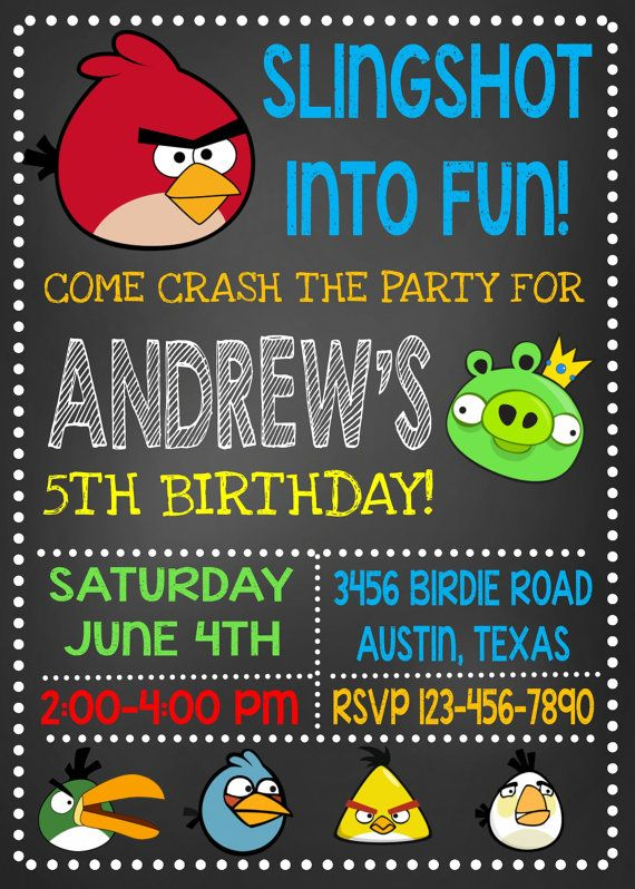 Angry Birds Invitation Chalkboard Angry by maoPartyPrintables