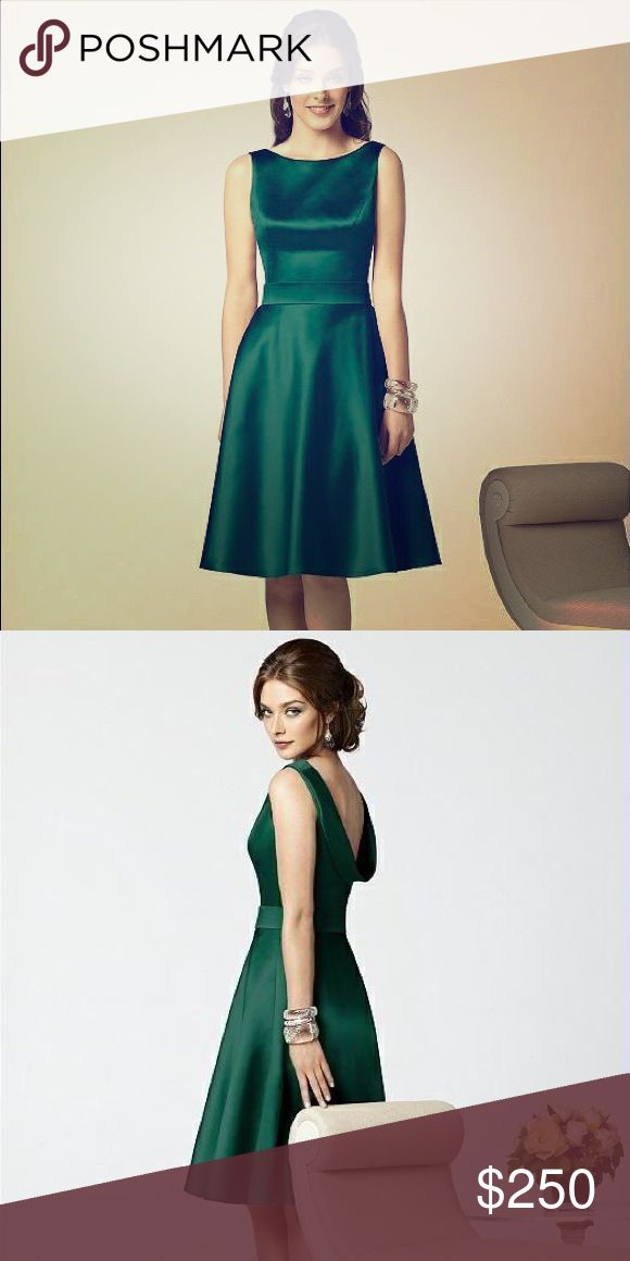 HUNTER GREEN SATIN DRESS Dessy Collection Style 2852. Matte Satin Fabric - very comfortable! I ordered a size 16, and it was too snug  I think it would fit a size 14 for sure, maybe need to tailor a bit for a 12, but it's a lovely dress! The Dessy Group Dresses Wedding