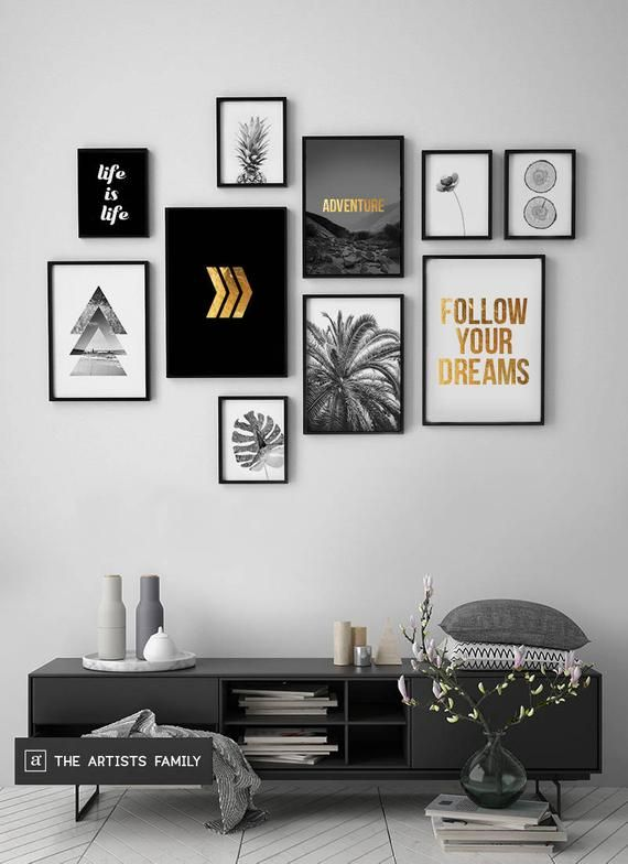 Downloadable Prints Set of 10 Minimalist Minimal Pineapple Boho Art Walls Gold Monstera Slices Botanical Flower Triangle Arrows Black White ★ INSTANT DOWNLOADABLE PRINT SET You will get five files for each poster - so you can print any size you want! Printable wall art is easy and affordable way