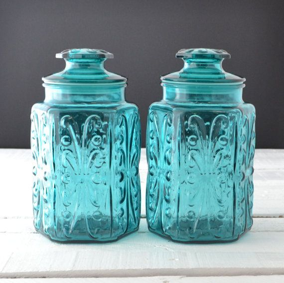 Teal Glass Canisters Vintage Kitchen Canisters Atterbury Scroll Imperial Glass Aqua