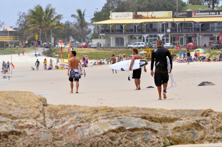 Surfers come from everywhere when they hear the surf is breaking at Rainbow Bay and Snapper Rocks