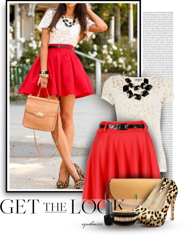 Lace cream top, red skirt, black statement necklace, leopard heels