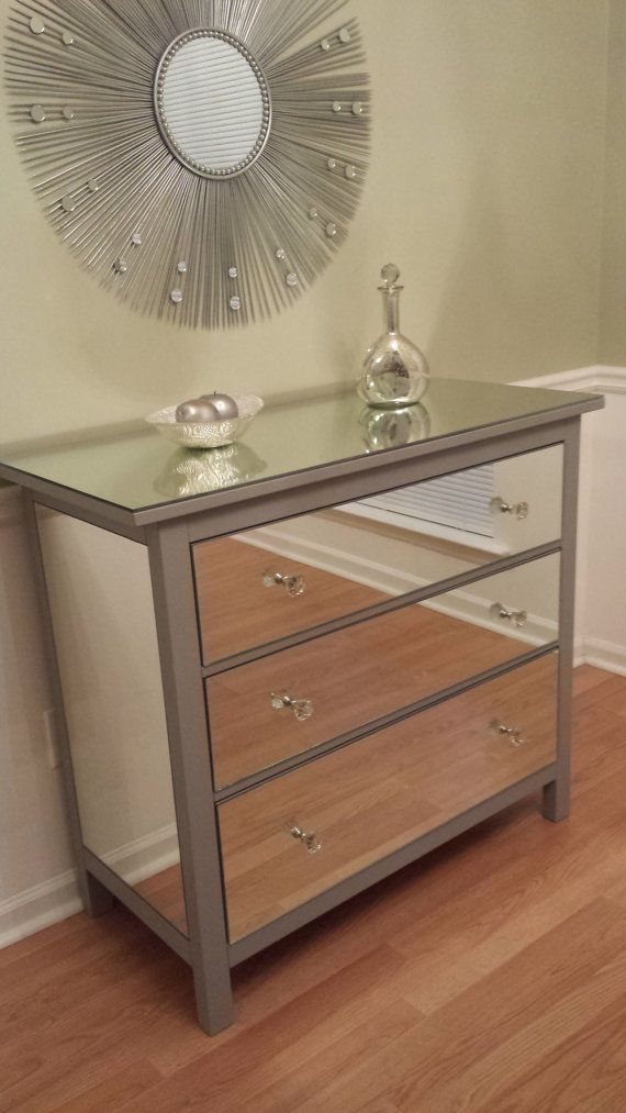 Mirrored Dresser Silver Upcycled Ikea 3 Drawer Mirror