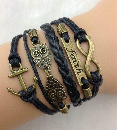 owl braceletleather braceletswax cords bracelets for by chicfavor