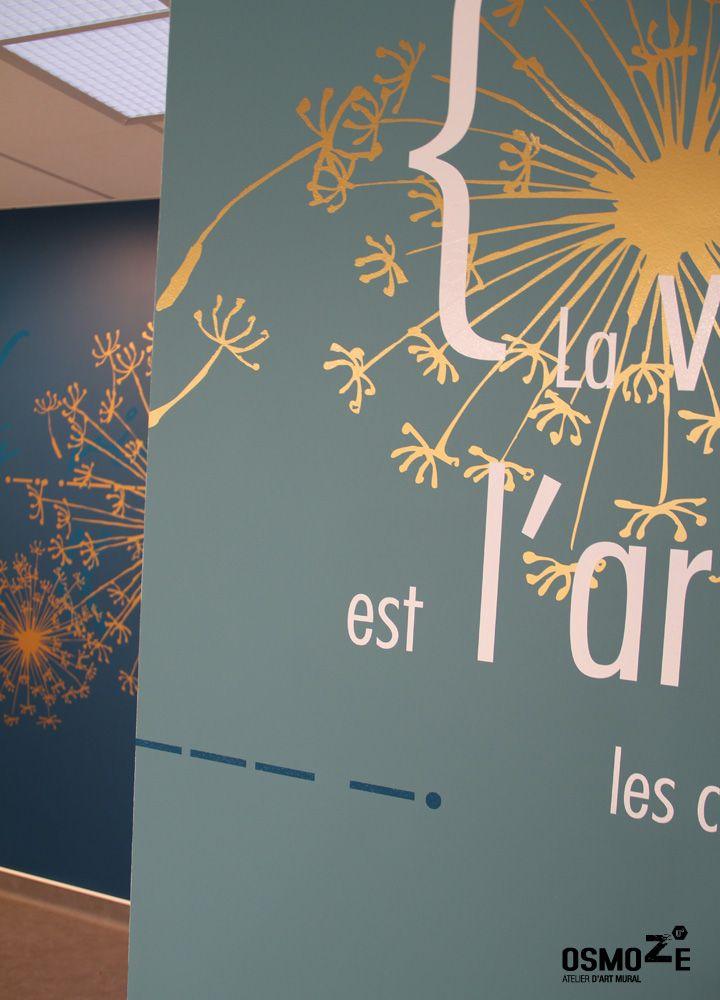 Décoration murale anamorphose design poly clinique salle attente art mural doré blois