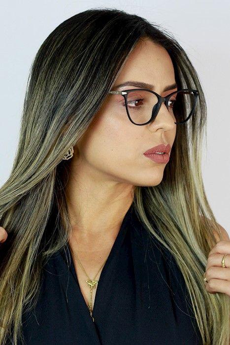b24487964 Óculos de Grau Ma Chérie Palermo Gatinho Quadrado Preto | Armações ...