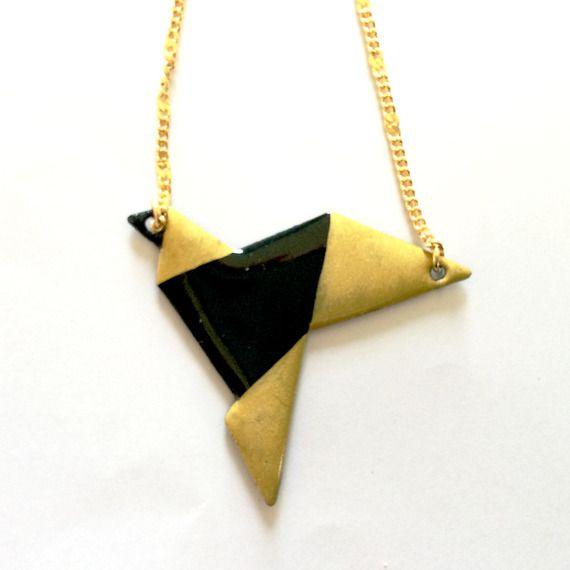 Pendentif origami oiseau noir et doré