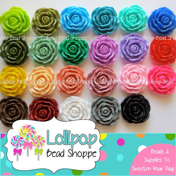 JUMBO Resin ROSE Beads 45mm Chunky Beads Plastic Flower Bead Large Rose Beads Bubble Gum Beads Bubblegum Bead Necklace YOU PICK COLOR by LollipopBeadShoppe, $2.00