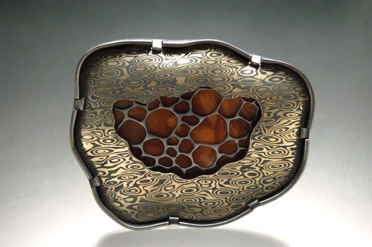 Brooch   Michelle Startzman. 'Obscurity'  Mokume gane with copper and nickel, copper, enamel