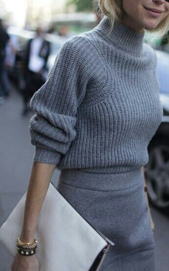grey sweater, grey skirt, clutch