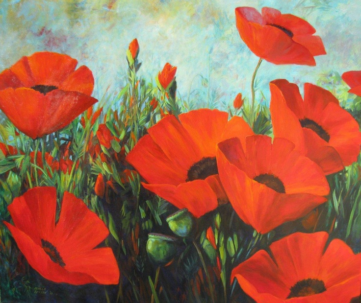 Marla Wilson is a perennial participant in the Calgary Stampede Art Show. Poppies are not her usual subject but she has captured the bright red and the life that flowers symbolize. #artgallery #kelowna