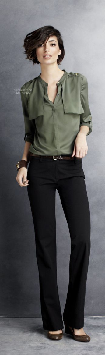 Fall / Winter - Spring / Summer - office wear - work outfit - business casual - olive shirt + black pants + black heels + brown belt