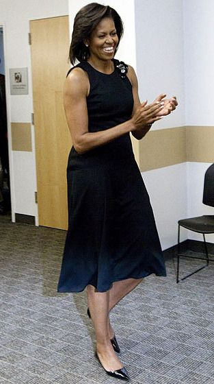 Where: Meeting with students prior to her commencement speech at the University of California, Merced.What: Dress by Michael Kors.