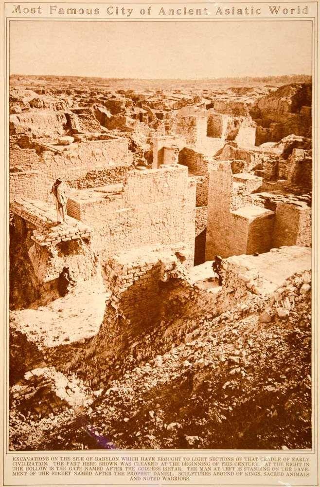 1923 Rotogravure Babylon Ruins Ancient City Mesopotamia