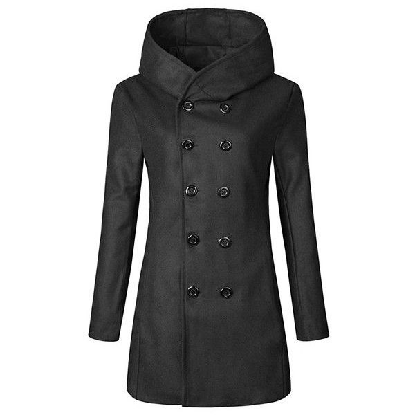 Double-breasted wool trench coat ($41) ❤ liked on Polyvore featuring men's fashion, men's clothing, men's outerwear, men's coats, black, mens double breasted wool coat, mens fur collar coat, mens slim fit coat, mens long wool coat and mens double breasted coat