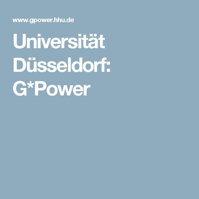 Universität Düsseldorf: G*Power