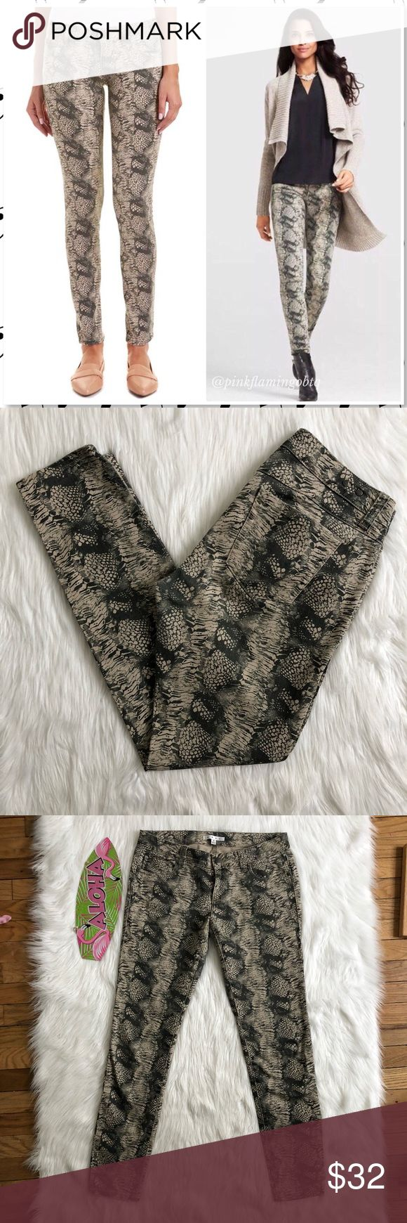 """CAbi Snakeskin Diamondback Print Skinny Jeans 4 Cabi Snakeskin Diamondback Print Skinnies. Neutrals and gray colors make up this fun print skinny jean from CAbi. Snakeskin print, 5 pocket styling with zip and button closure. Good amount of stretch to hug those curves. Gently used condition. Print has slight fade from wash but these jeans are still rockin'. Photos are best descriptors.  Approximate Measurements Waist 15""""(flat) Rise 8"""" Inseam 30"""" CAbi Jeans Skinny"""