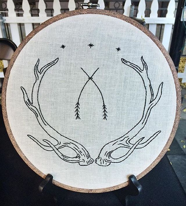 This large antler hoop will be available in my Etsy shop tomorrow at 3pm PST. Happy New Year my friends!  #tuskandcardinal #blackwork