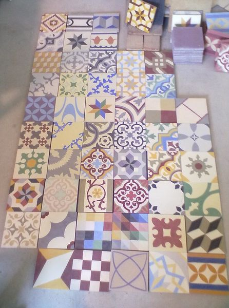 Our most popular line of tiles. Random selection of cement encaustic tiles, 20x20m, hydraulically pressed. Either 22mm or 18mm thick. FEATURES Cement with groun