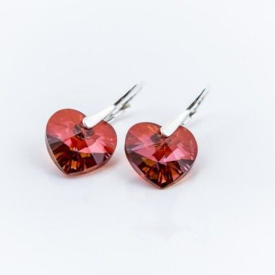 Swarovski Heart Earrings 14mm Red Magma  Dimensions: length: 2,8cm stone size: 14mm Weight ~ 4,05g ( 1 pair ) Metal : silver plated brass Stones: Swarovski Elements 6228 14mm Colour: Red Magma 1 package = 1 pair Price 17,99 PLN  ( about`4,5 EUR )