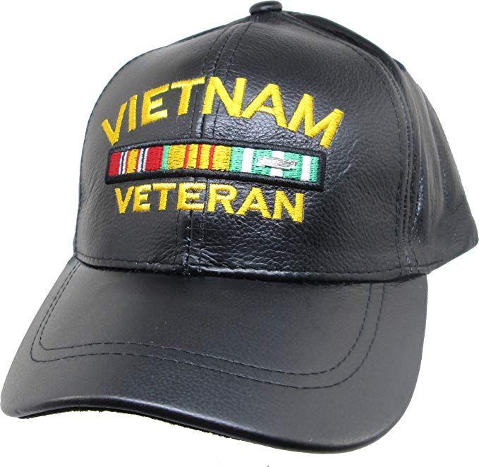 0a22a6dc24 K&S Unique Vietnam Veteran Ribbons Leather Mens Cap [Black ...