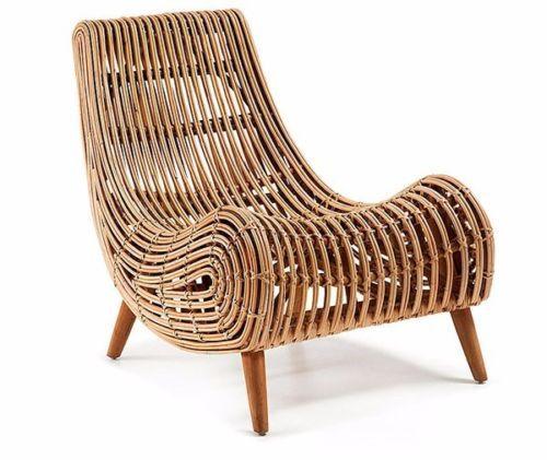 M Seth Wicker Accent Chair Rattan Outdoor Modern Danish Scandinavian Vintage